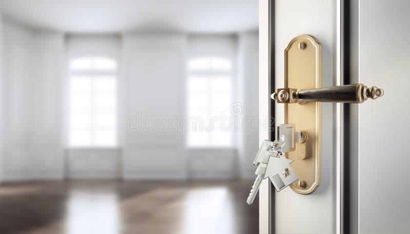 Open classic door with keys against an empty appartment. Open door with doorhandle and keys agains an empty classic appartment stock illustration