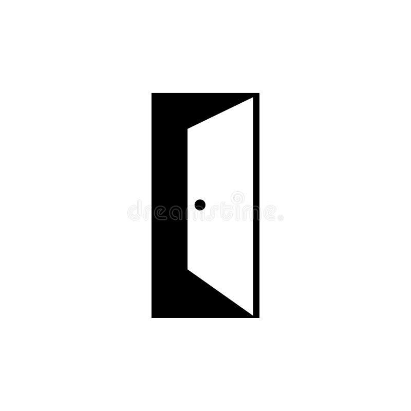 Creative open door logo design illustration. Open door enter dark night vector illustration element creative simple minimal flat design room home house vector illustration