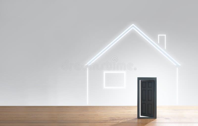 Open door house symbol stock image
