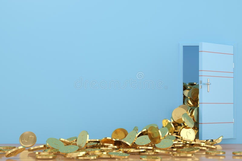 Open the door gold coins fall out,3D illustration. stock illustration