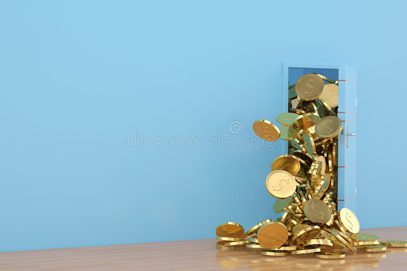 Open the door gold coins fall out,3D illustration. vector illustration