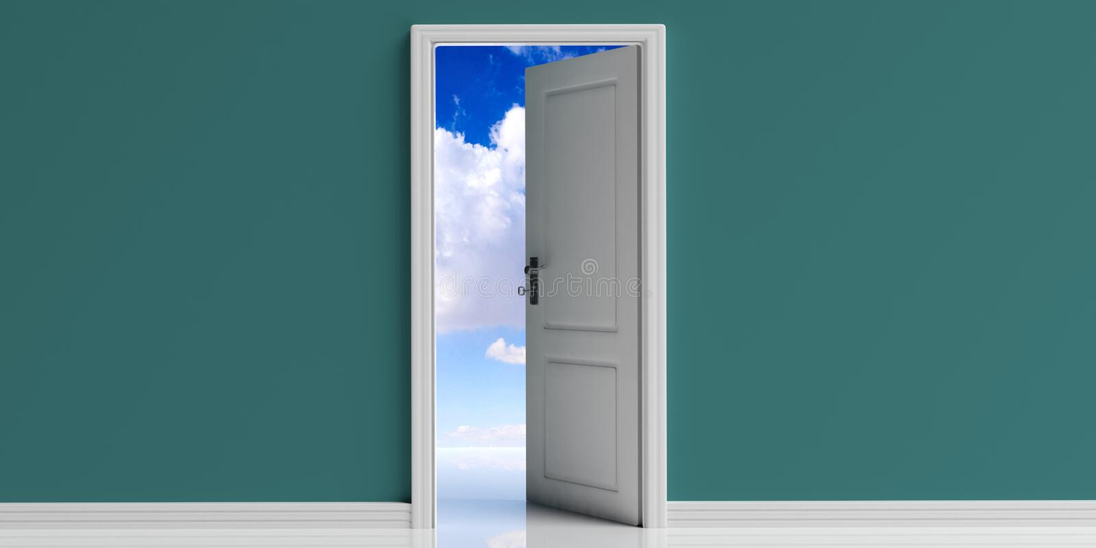 Open door on green wall background, blue sky with clouds view out of the door opening. 3d illustration stock illustration