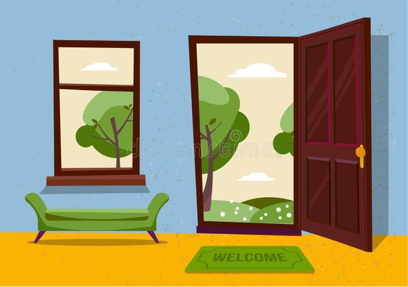 Open door into hot summer landscape fair weather view with freen park trees. Door mat and green bench in room. Flat cartoon stock illustration
