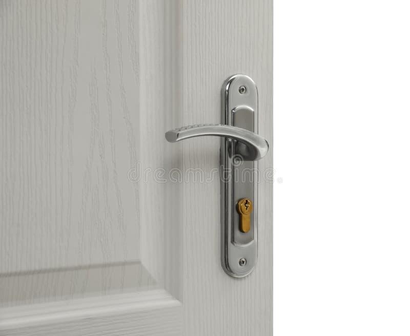 Open door with key hole stock photo