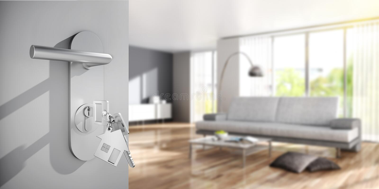 Open door with keys agains a sunny apartment royalty free stock image