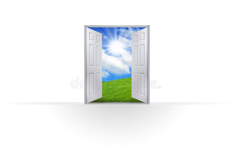 Open door to success. An open door leading to green sunny meadow isolated on white background stock illustration