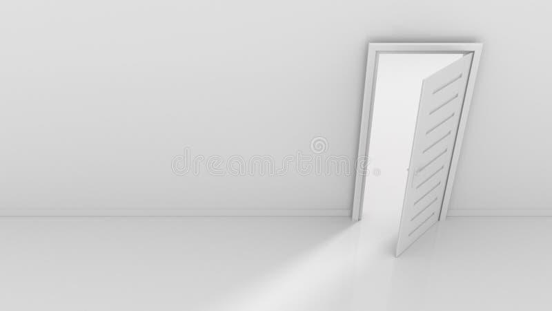 Open door and light flow. 3d rendering stock illustration
