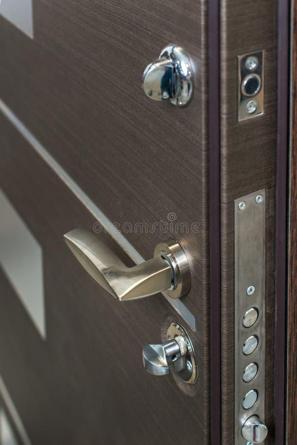 Open Armored Door. Door Lock, Dark Brown Door Closeup. Modern ...