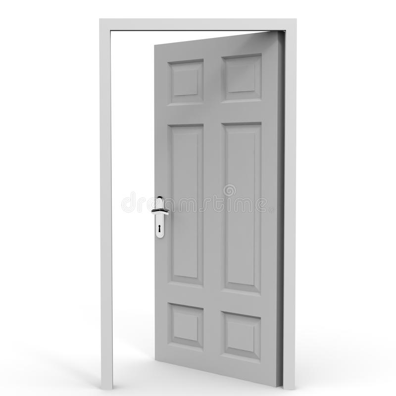 Open door. Oppotunity. Exit. Entrance.Open door on white background. Oppotunity. 3D Illustration stock illustration