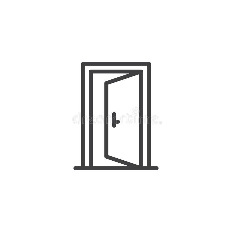 Open door outline icon. Linear style sign for mobile concept and web design. Exit doorway simple line vector icon. Push door symbol, logo illustration. Pixel royalty free illustration