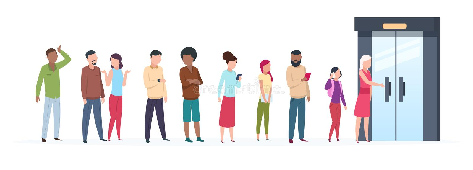 Open door queue. Trending people characters standing outside young adult customer line group stylish clothes. Flat. Vector illustration royalty free illustration