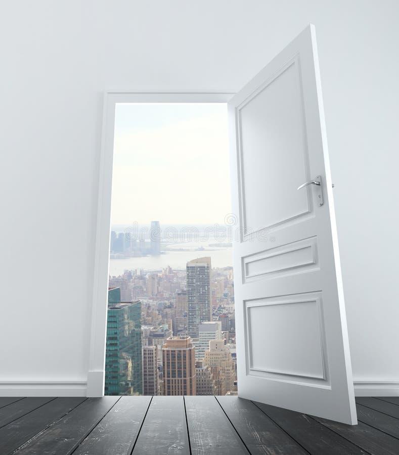Open door to city. Room with open door to city stock photos