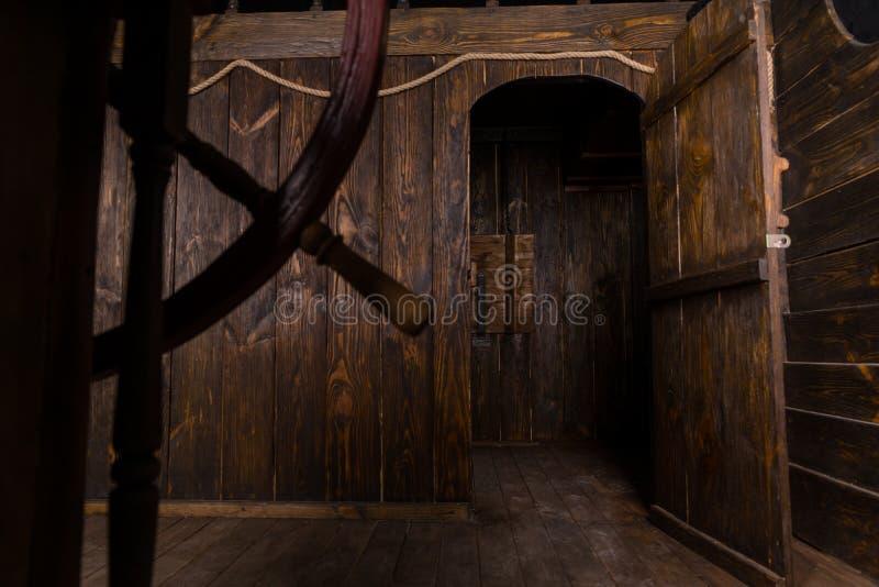 Open Door To Living Quarters Of Wooden Ship Stock Photo
