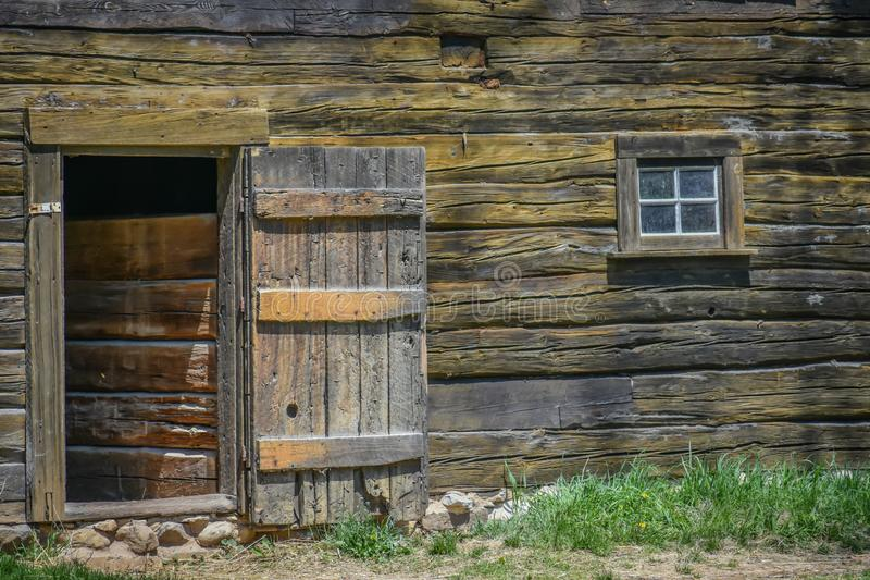 Wooden Doorway and Window of Old Barn stock photography