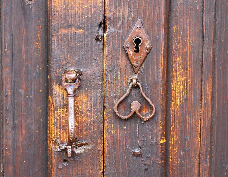 Door Handle Keyhole On Brown Wood Door Stock Photo Image
