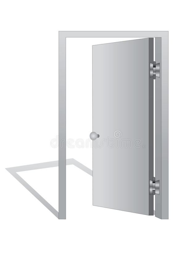 Download Open door on  white stock illustration. Image of handle - 22827391