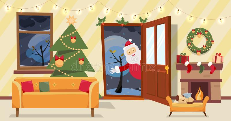 Open door and window overlooking the snow-covered trees. Christmas tree, gifts in boxes and furniture, wreath, fireplace inside. royalty free illustration