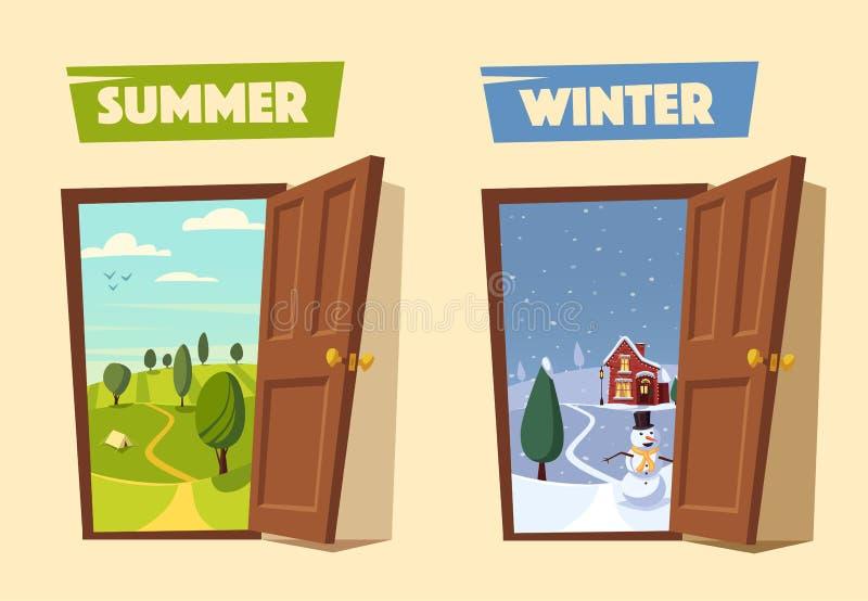 Open door. Winter and summer. Cartoon vector illustration. royalty free illustration