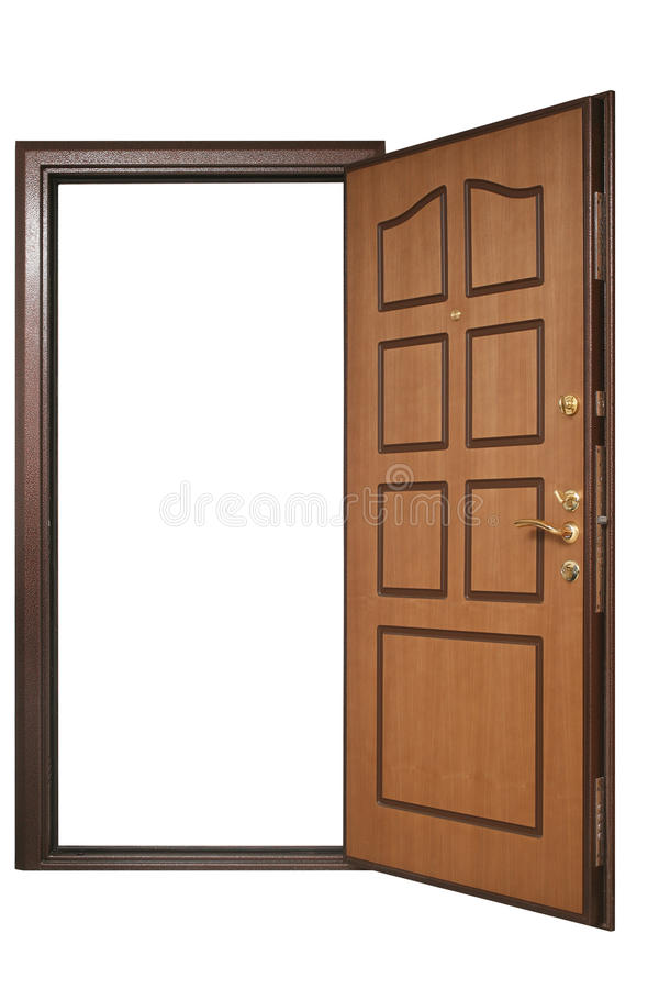 Open door with wood trim. With Clipping Paths royalty free stock photography