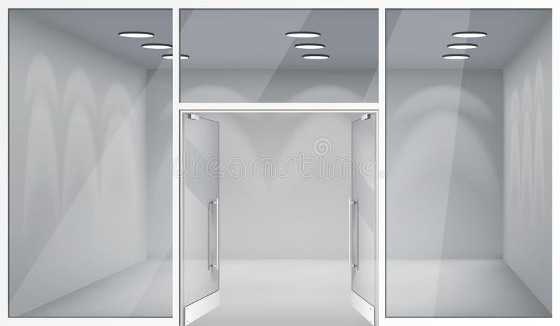 Open doors 3d shop empty interior front store realistic windows space template mockup background vector illustration royalty free illustration