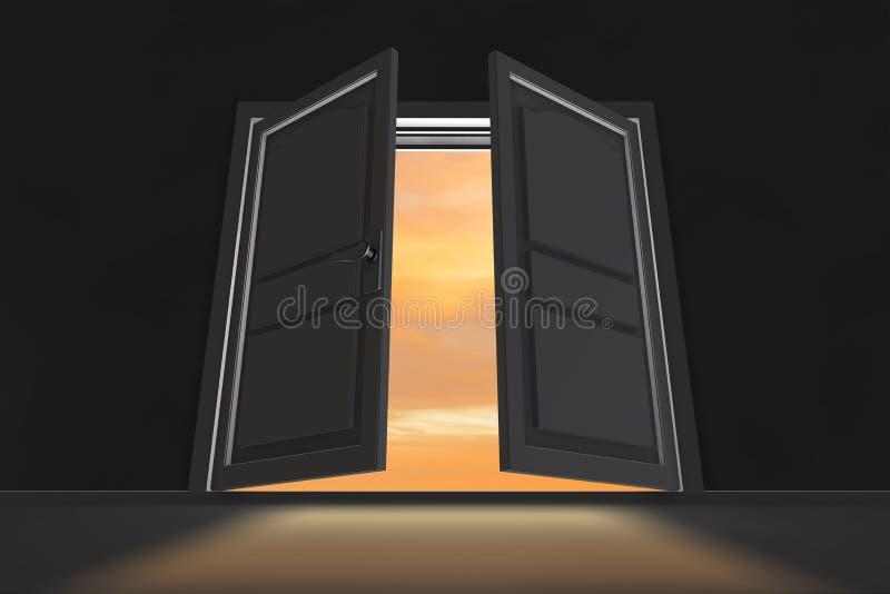 The open doors in opportunity concept. Open doors in opportunity concept royalty free stock photos