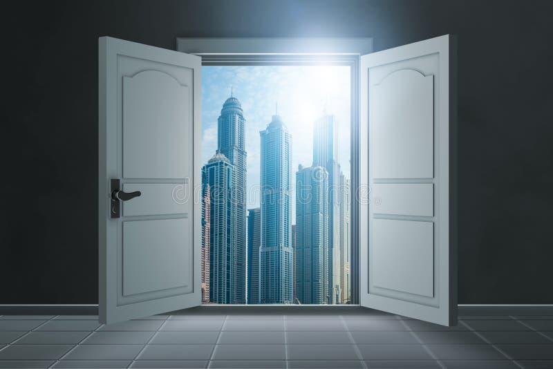 The open doors in opportunity concept. Open doors in opportunity concept royalty free stock image