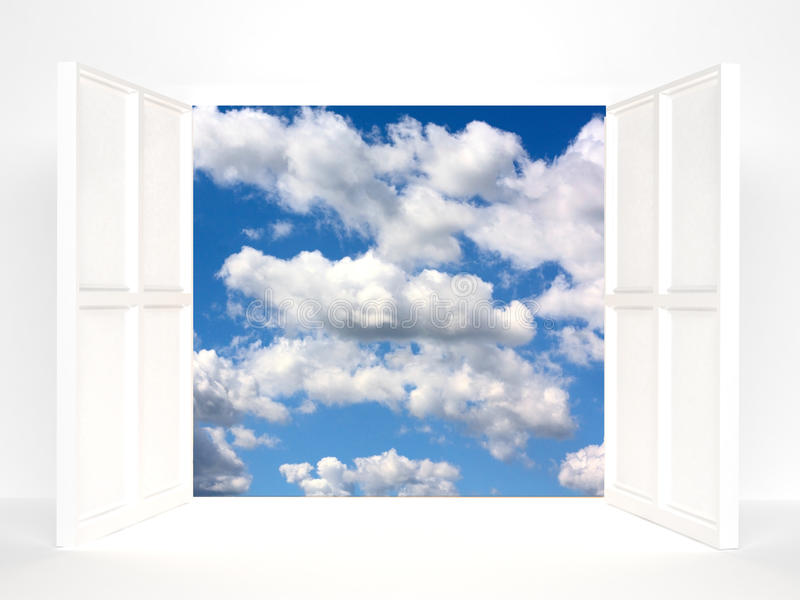 Download Open doors and sky stock illustration. Image of dreams - 16128874
