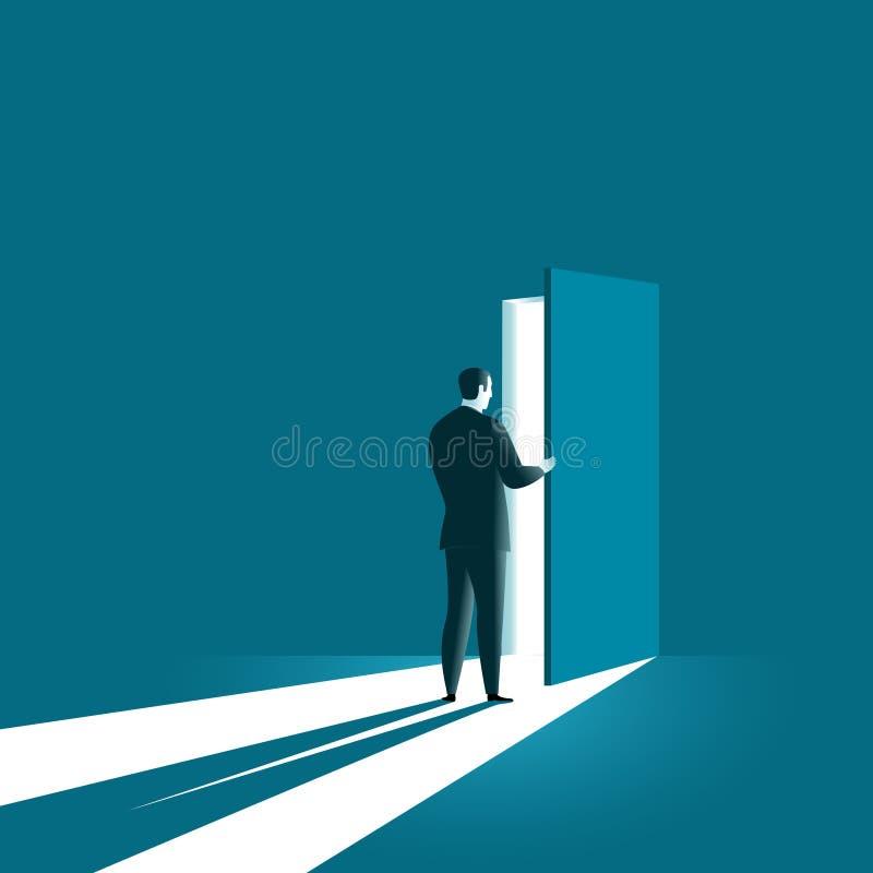 Open door in future. vector illustration