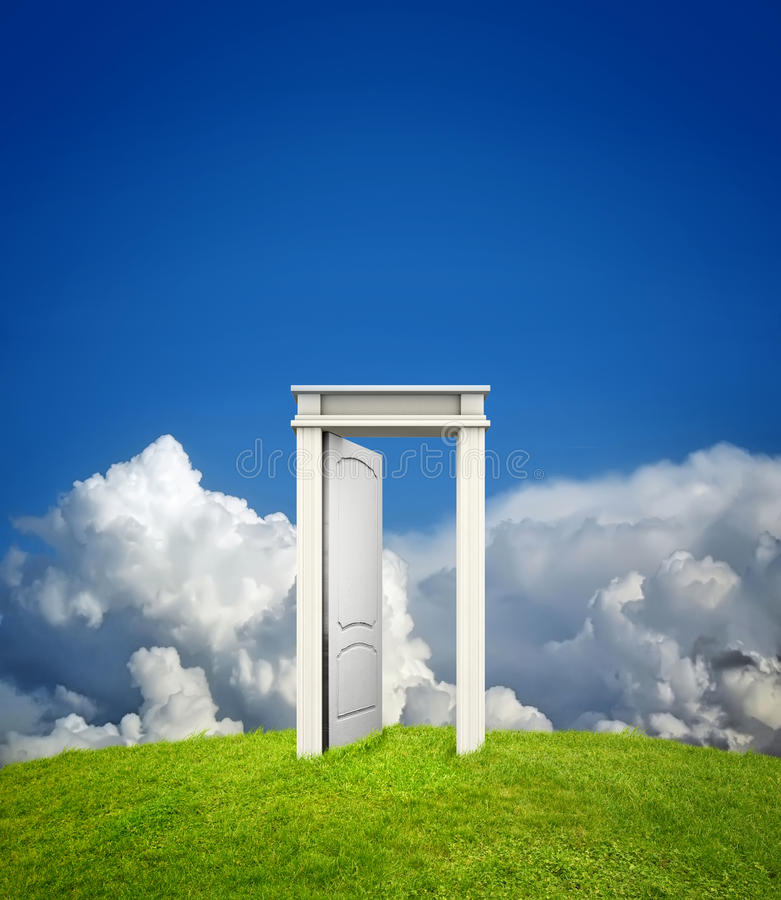 Open doorway in countryside royalty free stock photography