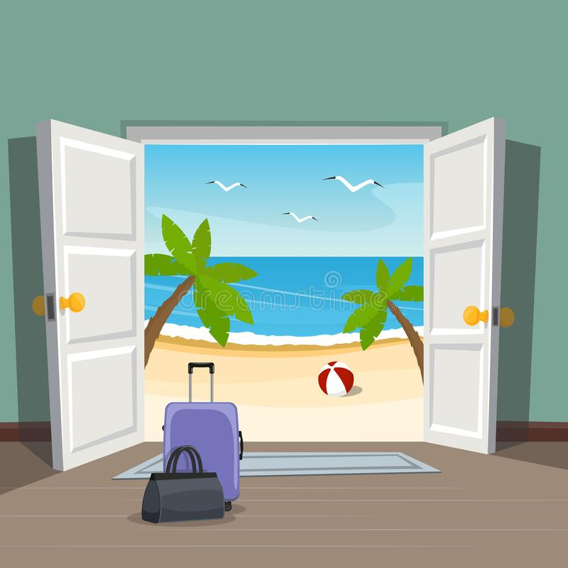 Free Open Doorway To The Beach. Go On Vacation. Luggage At The Door. Royalty Free Stock Images - 111822239