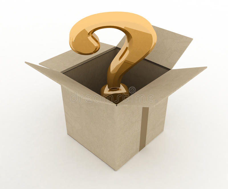 Open doos met binnen vraagteken vector illustratie