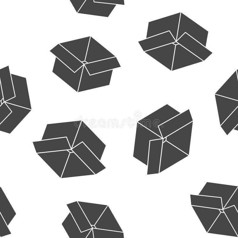 Open doos vectorbeeld Teken van pakket en goederen naadloos patroon op een witte achtergrond Lagen voor het gemakkelijke uitgeven royalty-vrije illustratie