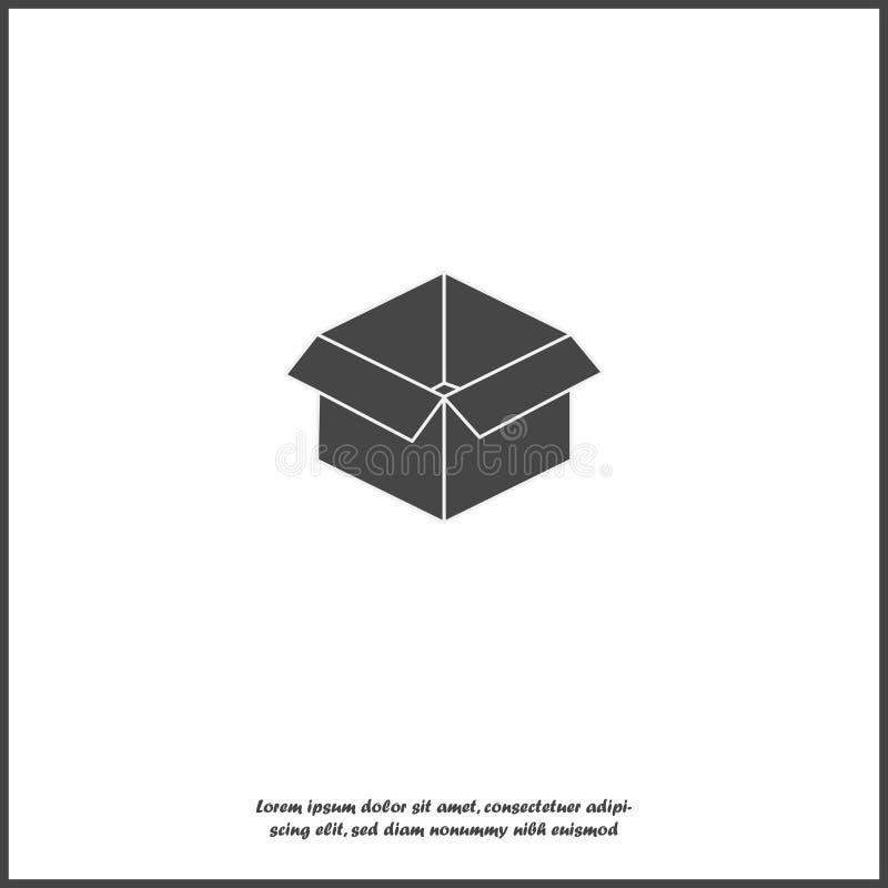 Open doos vectorbeeld Teken van pakket en goederen op wit geïsoleerde achtergrond royalty-vrije illustratie