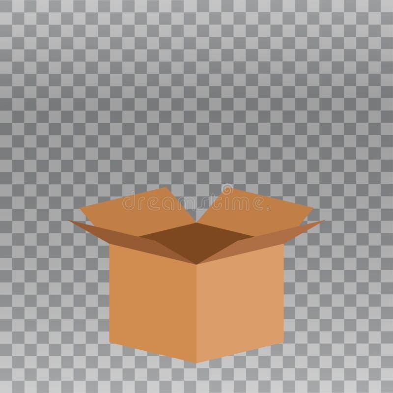 Open doos vectorpictogram op vervoerdersachtergrond stock illustratie
