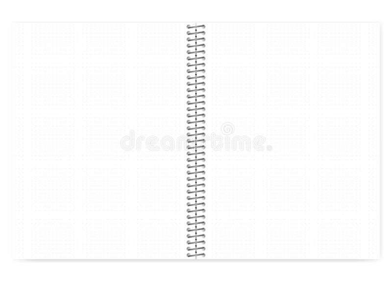 Open dot grid wire bound notebook with metal spiral, realistic m. Open dot grid wire bound notebook with metal spiral, realistic vector mock up. Loose leaf royalty free illustration