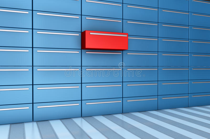 Open drawer. Red drawer opened in 3d - different drawer in red royalty free illustration
