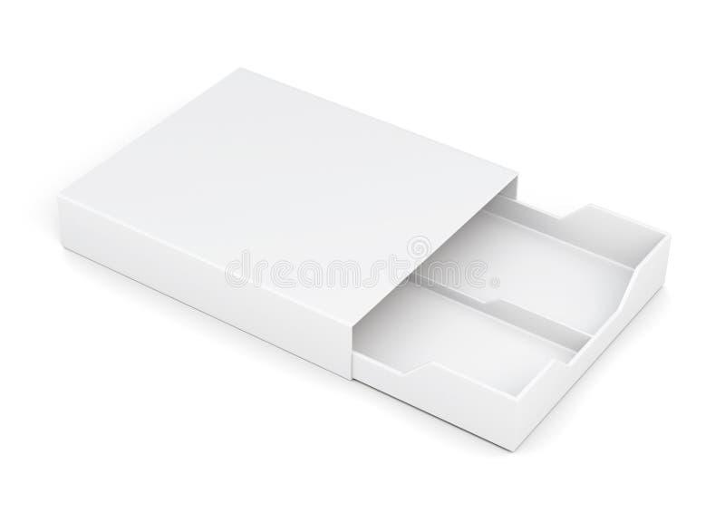 Open drawer box on white background. 3d rendering. Open drawer box on white background. Laminated cardboard. Plastic box. 3d rendering stock illustration