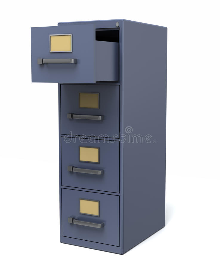 Open drawer cabinet. A blue filing cabinet with an open drawer. Isolated on a white background royalty free illustration