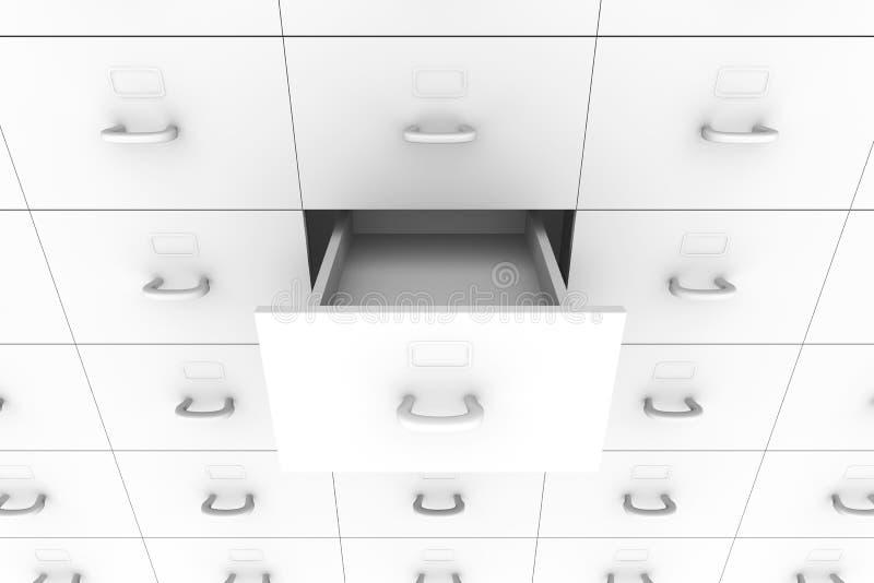 Open drawer - Filing Cabinet. 3D rendered Illustration. Open drawer - Filing Cabinet vector illustration