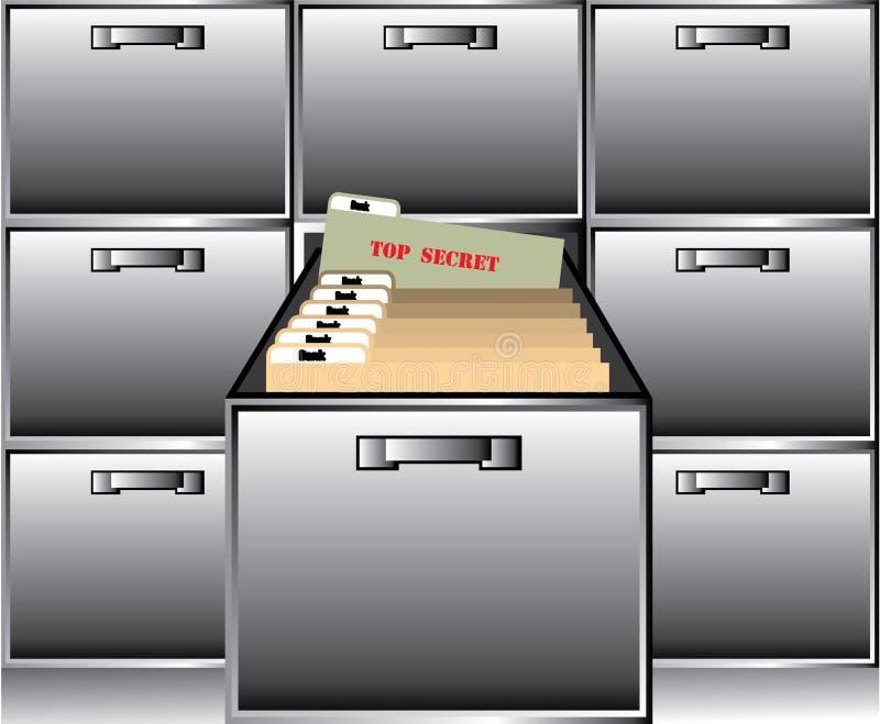 Open Drawer with Top Secret File. Illustration clip-art eps stock illustration