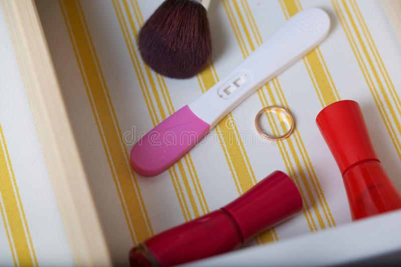 Open drawer of a woman's mirror table. Closeup royalty free stock photography