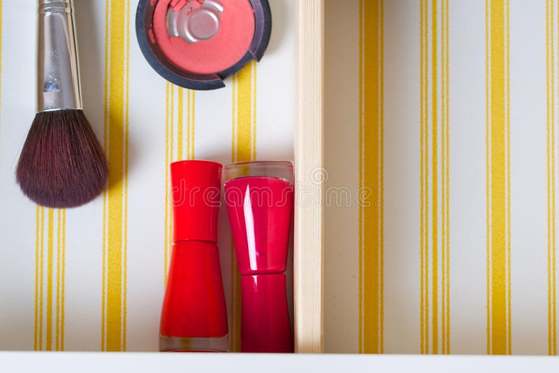 Open drawer of a woman's mirror table. Closeup stock image