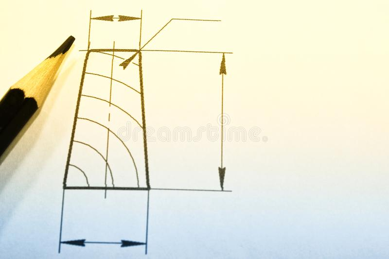 Open drawings with a pencil. Engineering and design. Construction projects. stock photography