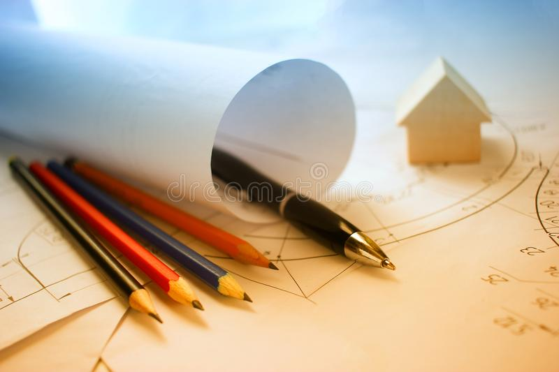 Open drawings with a pencil. stock photos
