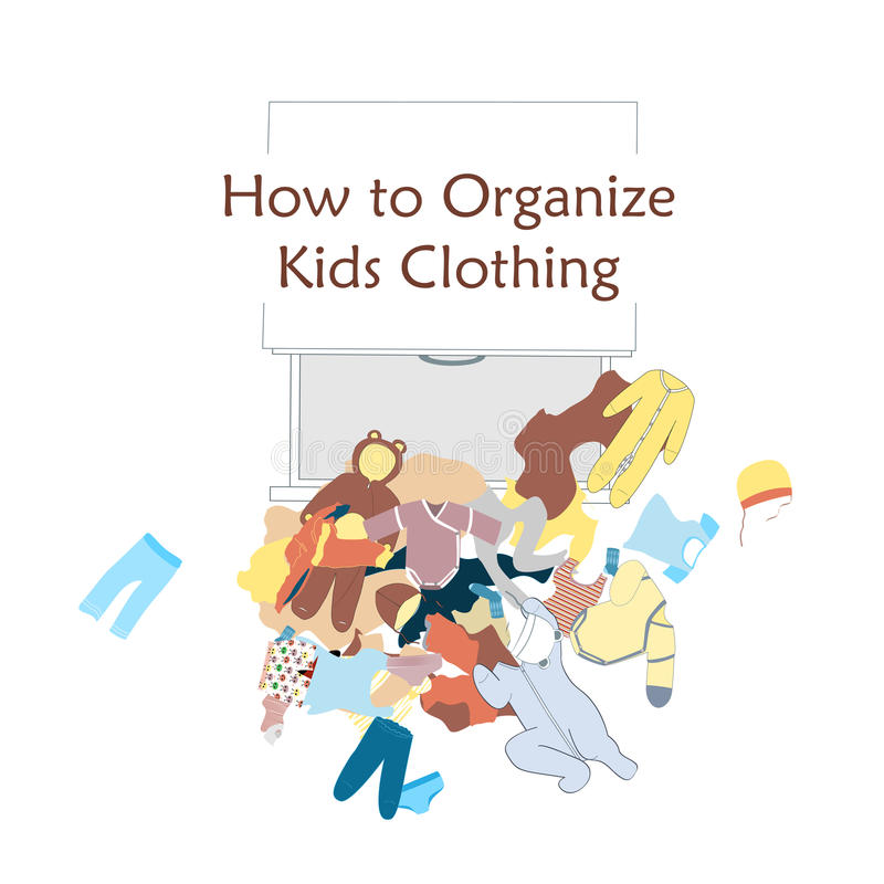 Open Dresser Drawer and messy kids clothing on the floor. Vector illustration about clothing organizing. Taken out wardrobe vector illustration