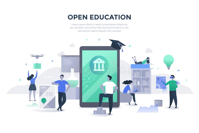 Open Education Flat Concept. Open education concept. People gaining excess to high-quality learning materials and resources with the help of modern technologies royalty free illustration