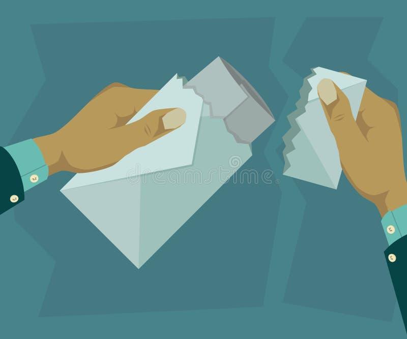 Open een envelop waarin er een brief is stock foto's