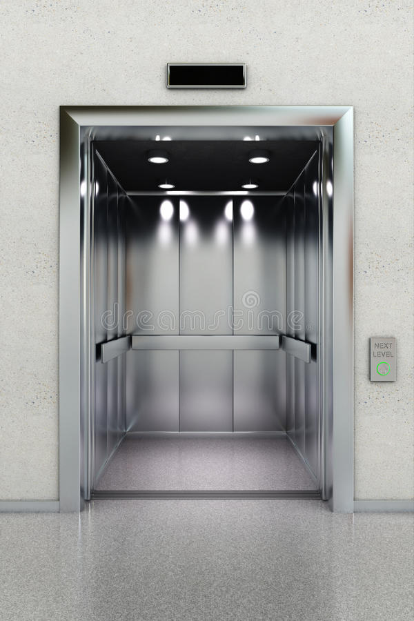 Open elevator royalty free illustration
