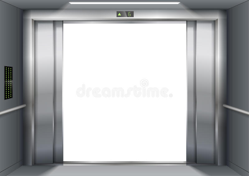 Open the elevator doors royalty free illustration