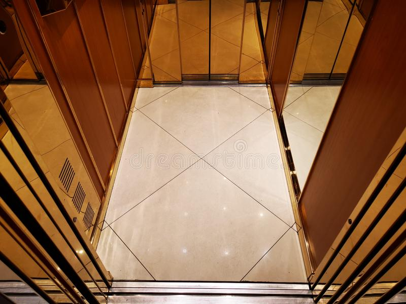 Open elevator- open doors down view royalty free stock images